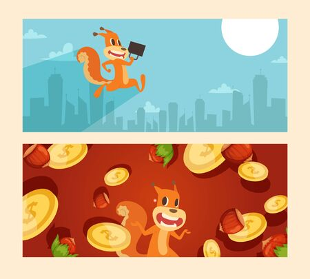 Squirrel office worker with case, coins and nuts wealth vector illustration. Animal character in hurry to work in city center, tall buildings. Joyful rodent with favorite treat and money.