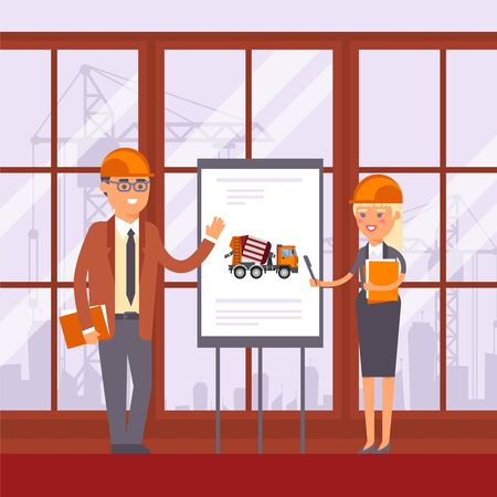 Construction technic, machine use discussion in management vector illustration. Man and woman near stand with equipment for biton image. Workers in hard hat at meeting near construction site. Illustration