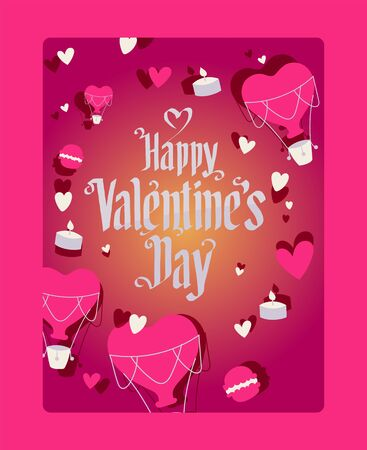 Happy Valentine s Day greeting card, vector illustration. Romantic celebration holiday, template poster with heart balloon, lighted candle. Creative font, vertical symbol love flyer.