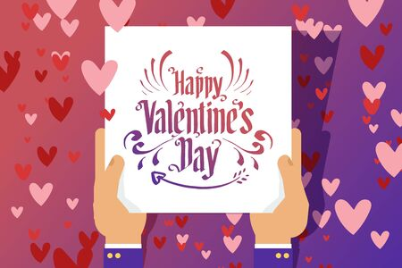 Happy valentine s day lettering card, vector illustration. Congratulation for lovers day in character hands. Romantic text design, heart background. Decoration calligraphy type flyer.