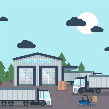 Warehouse outside industrial product transportation and storage, vector illustration. Forklift working with delivery carton box, cargo container and truck near metalic building, storehouse.