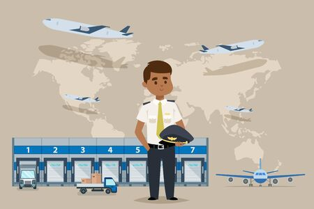 Warehouse outside, plane delievery vector illustration. Tracking package, industrial transportation and maintenance logistics. Commercial business worker character in pilot uniform, map background.
