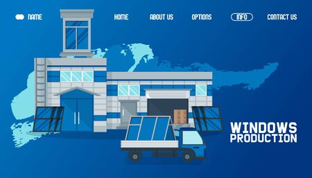 Warehouse outside, window production website vector illustration. Product transportation by cargo, global delievery working business window factory exterior. Import and package industrial product.