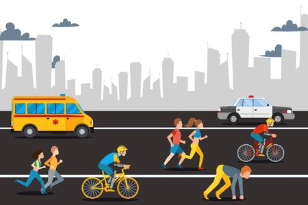Marathon athelete man on city road, vector illustration. Outdoor sport, speed run, ride bicycle for health and competition race. People at race, healthcare ambulance and police car.