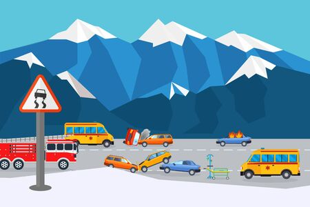 Reanimation at traffic accident place, result vector illustration. Collision car near mountain, care about injured. Medical assistance and fire truck in dangerous place ice, slippery road. 일러스트