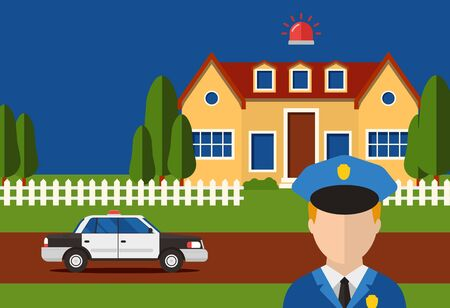 Police action security house system burglar alarm, vectore illustration. Automataion contact with control servise for report house robbery. Policeman arrive by car to house with turned on siren. 写真素材 - 148997702