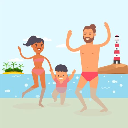 Walking baby at beach resort, clear ocean water, vector illustration. Young family with child taking their first steps in water. Parents character rejoice in son success, mom hold boys hand.