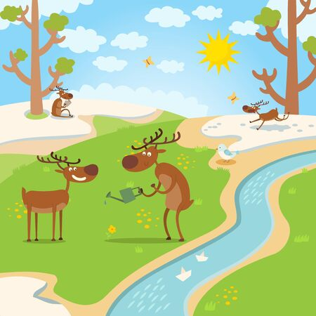 Deers happy for spring, thaw in forest vectore illustration. Animal character watered flower, catches up with butterfly and read book in natural habitat. Snow melts from sun ray near river.