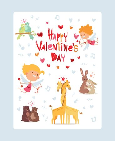 Coupidone kids, happy valentines day festive card, vector illustration. Congratulaton poster, little angels. Vertical template animals in love, couple giraffes, bears, hare and bird.