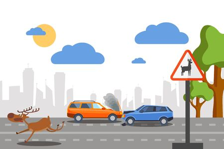 Wild deer accident on road vectore illustration. Cars collide near sign warning movement forest animals. Frightened deer run along sidelines. Damage to personal vehicles near forest zone Иллюстрация