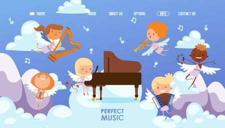 Coupidone kids play perfect music vector illustration. Boy and girl character play piano, harp, tambourine, trumpet and accordion at sky. Little angels on main page musical website.