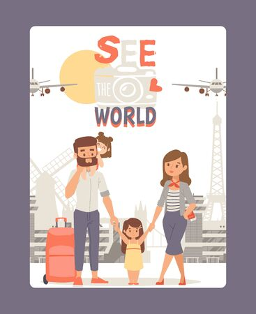 Vacation with family, see world poster vector illustration. Travel tour at Europe, city landmark background. Young couple with kids at happy summer journey around world. Airplane, mill and Eiffel Tower.