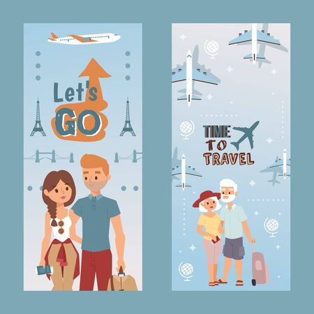People vacation set, lets do and time to travel, vector illustration. Happy couple tourism by plane with bag suitcase at holiday vertical flyer. Family character at trip together, Europe background.