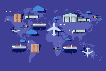 Warehouse transportation outside container, delievery vector illustration. Industry production export on world map, airplane, vessel, cargo and forklift shipment. Business global logistic.