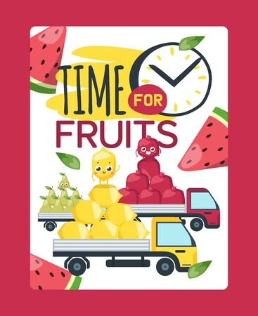 Food warehouse, time for fruits outside vector illustration. Grocery market delievery by cargo with organic product. Fresh cartoon lemon, plum and pear transportation in farmer truck.