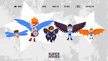 Landing banner kids superheroes with wings vector illustration. Boys and girls with superpower, fight against evil team online page. Children character in special colorful costumes and masks. 일러스트