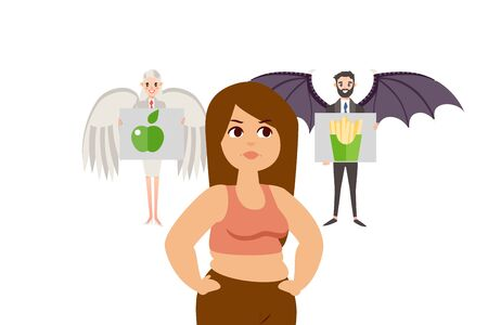 Good, bad decision in people form with angel and demon wings vector illustration. Overweight girl choos between healthy fruit and fatty fast food potatoes. Proper nutrition and harmful to health food.