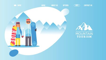 Logo mountain tourism, vector illustration. Main page travel company, happy couple at mountain resort, outdoor activity with snowboard. Consumer choice company with creative logo, proper advertising.