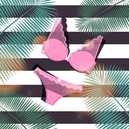 Stylish underwear set for young woman, vector illustration. Bra and panties with lace, bow for decoration, pink feminine outfit. Striped background with cartoon large palm branches. Иллюстрация