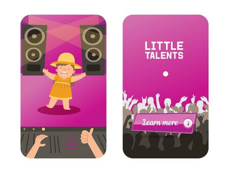 Walking baby on little talants children show vector illustration. Funny curly girl on large hall stage, speakers and amplification equipment. Audience applauds character talented child.