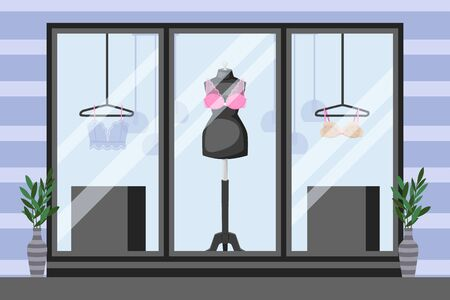 Front showcase underwear storefront, vector illustration. Mannequin with lace bra, thin clothes on hanger. Near windows in black frame vases with leaves, striped wall cartoon store.