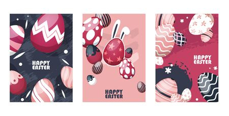 Happy easter flyer, eggs set vector illustration. Traditional treat for holiday, painted eggshell with bunny ears. Celebrate spring holiday, different print on food, star, stripes, polka dot.