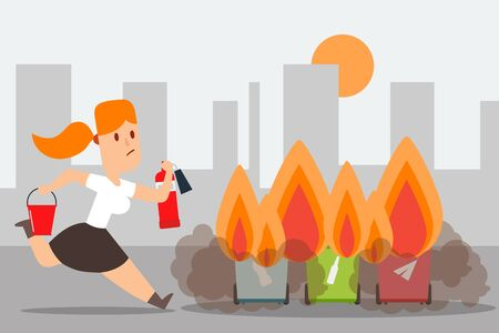 Compliance with fire safety outside, trash can arson vector illustration. Girl run to extinguish flame with fire extinguisher, bucket sand. Separate garbage container burn, danger in residential area.