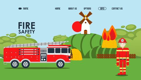 Fire safety online webpage, vector illustration. Local fire service official site, fireman in protective jacket near car. Haystack burn near mill, owner called fire assistance to extinguish flame.