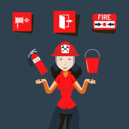 Fire safety sign vector illustration. Image for help during emergency, flame indoors. Girl in helmet show fire extinguisher and fire bucket. Fire alarm, emergency exit and firehose.