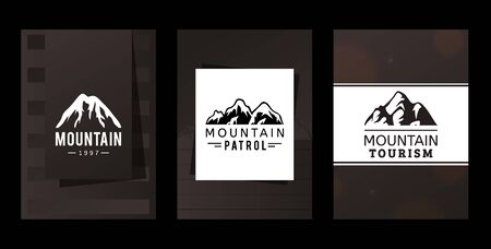 Logo mountains patrol and tourism, vector illustration. Company identification in tourist market, snowy mountain top image. Advertising agency with mountain expeditions, template print.