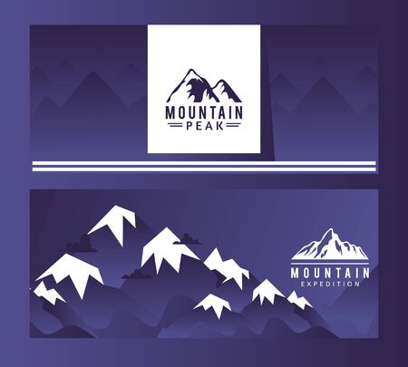 Logo mountain peak expedition, vector illustration. Trademark company trekking for professional climbers. Rocky high mountains with snowy peak poster. Advertising set, travel firm.