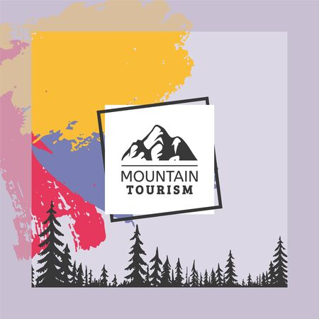 Logo mountain tourism, coniferous forest vector illustration. Company quality guarantee sign, colorful background with tall trees. Creative printable flyer, hike to top with firm help.