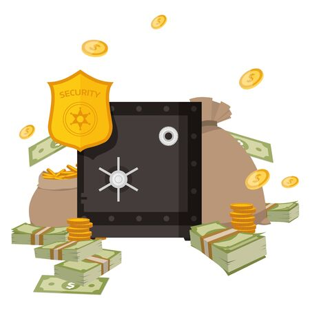 Safety money in metal lock security bank system , vector illustration. Protect business profit cash wealth by valuted stock. Strong lock for saving banknotes and bags with gold coins.