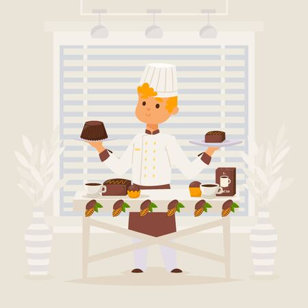 Confectioner work with chocolate vector illustration. Man character cook in apron offer sweet dessert in candy store. Quality product made from ingridient natural cocoa, delicious food on white table.