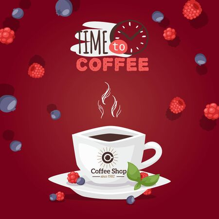 Time to coffee logo, cup aromatic drink vector illustration. Advertisement old coffee shop, cafe white mug cup on saucer. Steam from hot strong coffee drink, delicious berries on template flyer top.