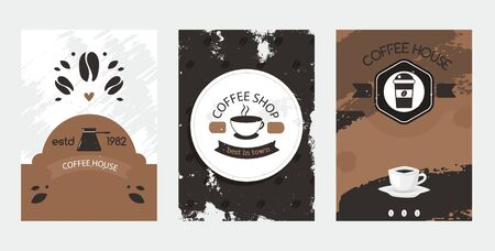 Logo set, estd coffee house, best shop in town vector illustration. Advertisment flyer cafe sell drink in mug from natural beans. Brewed aromatic black coffee in turk, indoors and takeaway.