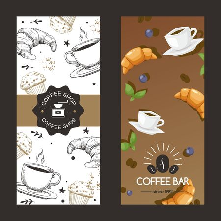Coffee shop and bar since year logo vector illustration. Cafe flyer set cup mug with drink, croissant, cupcake and berry. Colorful advertising to attract consumers, breakfest food and fresh liquid.