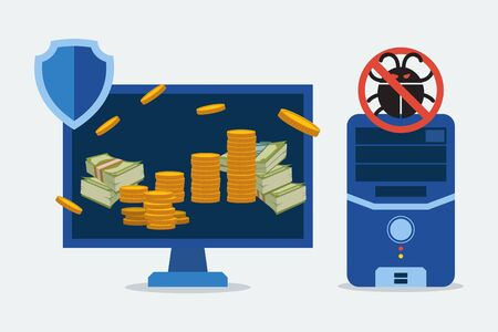 Antivirus for protection computer parts vector illustration. Secure banking operations on computer, electronical device. Money and coins on computer screen, crossed out parasite icon over processor. 일러스트