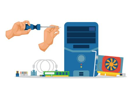 Repair and prevention computer parts work vector illustration. Worker hands character unwind processor parts, motherboard, cooler and hard drive. Technical work for computer system speed.