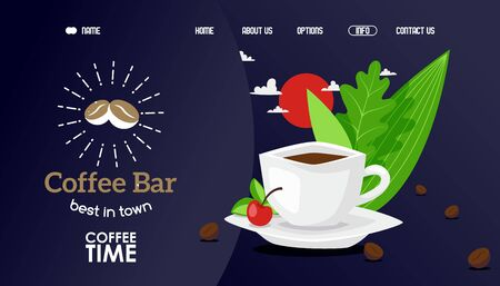 Coffee bar best in town, coffe time vector illustration. Cafe official website, main page with cup hot aromatic drink made from freshly ground beans. Decoration fresh herbs, mint and berry.