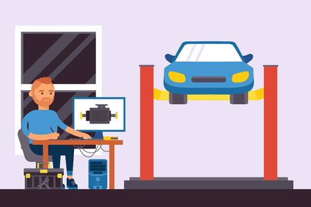 Computer parts auto diagnostics vector illustration. Man character use computer to repair car. Worker sit at table, machine raised using special mechanism at professional service station.