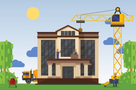 Building under construction with workers, vector illustration. Construction home public building, use special equipment tower crane and concrete mixer. Man in uniform and hard hat work at facility. Иллюстрация