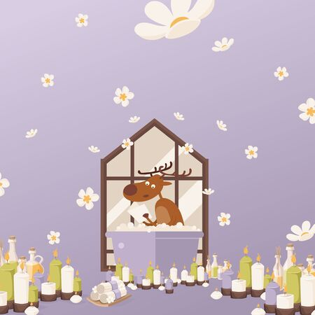 Deer relax in bathroom vectore illustration. character takes bath with foam.Relaxing atmosphere at home, burning candles and aromatic oils in jar for unwind. Animal with horns reading book.