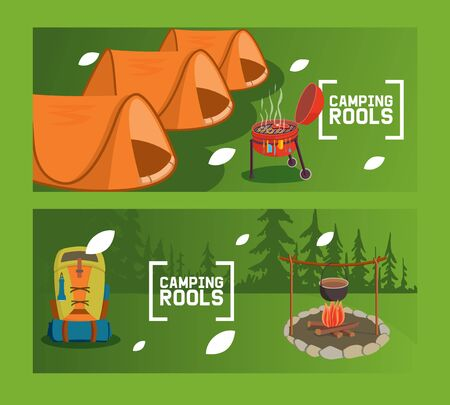 Camping rools flyer, overnight stay outside vector illustration. Tent for expedition, meat on barbecue in forest. Portable tourist backpack with necessary devices, campfire with cauldron in camp.
