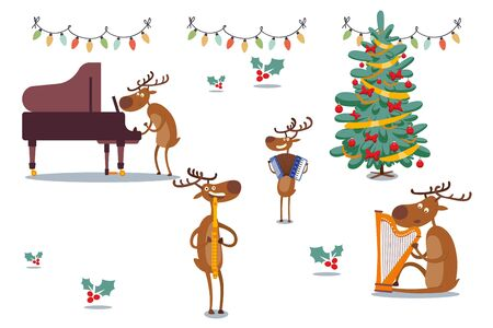Deers musical band at holidays, vector illustration. Animal plays piano, accordion, flute and harp near decorated Christmas tree. Festive mood, singing hymns, bright garland with bulbs.