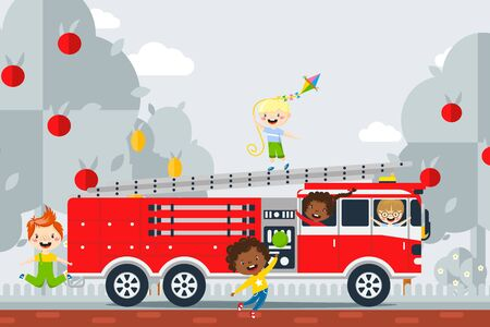 Fire safety study excursion, vector illustration. Children having fun in fire engine. Boy and girl learn about fireman work in playful way. Girlfriends near helm and boy on fire escape.
