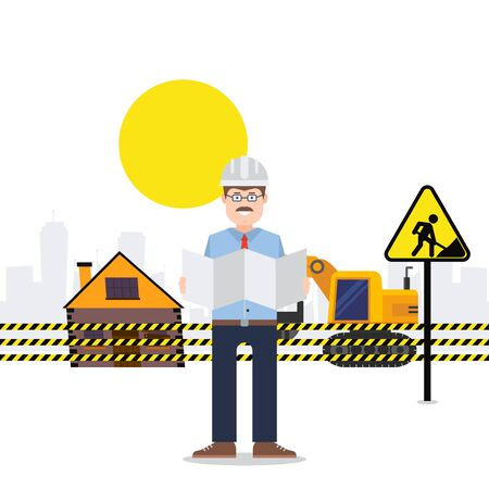 Under construction worker engineer, vector illustration. Conducting construction under guidance man in helmet. Object at work blocked by yellow tape, special technique bulldozer near house.