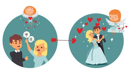 Coupidone kids work result, angel give love quarreling couple vector illustration. Cupid resolve misunderstanding between man and woman, strew hearts. Happy couple character dancing.