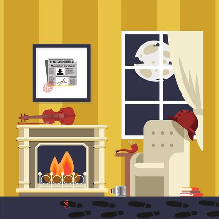 Famous detectives room, sherlock result vector illustration. Atmosphere for revealing complicated criminal case, crime. Man bowler hat and pipe hang on armchair, cartoon violin on fireplace.