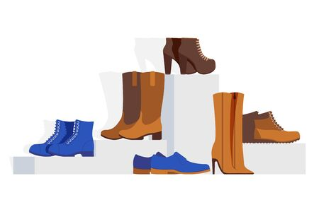 Women different type shoes collection, vector illustration. Showcase online footwear store stilettos, ankle, western boots, man shoes and sneakers isolated on white background, shoe sale.